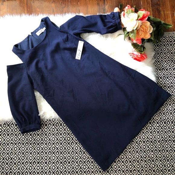 Eliza J Navy Cold Shoulder Dress NWT